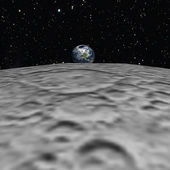 A nice view to the earth from the moon — Stock Photo