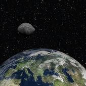 Pływające ist meteorytu z ziemią — Zdjęcie stockowe
