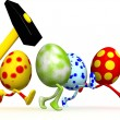 Easter eggs with a hammer. — Stock Photo