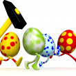 Stock Photo: Easter eggs with hammer.