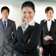 Stock Photo: Asian business women with her team.