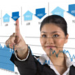 Stock Photo: Businesswomlooking at finance chart