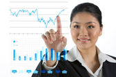 Iş kadını ekonomi grafik arıyorsunuz — Stok fotoğraf