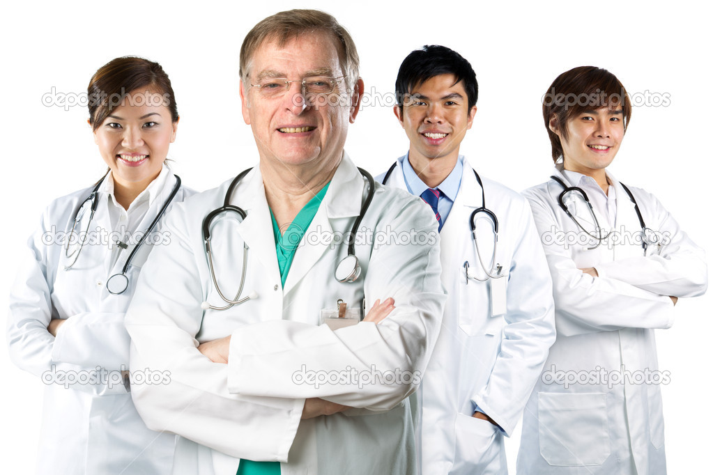 Four Asian doctor wearing a white coats with stethoscope's. Isolated on white. — Stock Photo #10593284