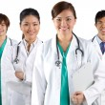 Portrait of a happy team of Doctors — Stock Photo