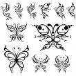 Stock Vector: Butterfly tattoo.