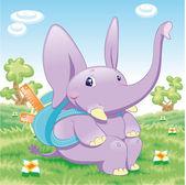 Baby Elephant - school — Stock Vector