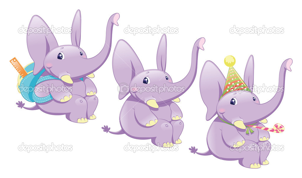Three types of elephant: normal, school and party. Funny cartoon and vector illustration.  Stock Vector #10016242