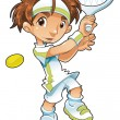 Baby Tennis Player — Stock Vector