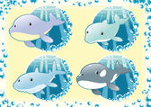 Ocean Family fish — Stock Vector
