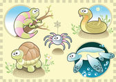 Reptiles and Spider Family, with Background — Stock Vector