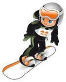 Baby Snowboarder. — Stock Vector