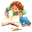 Boy writing and drawing. — Stock Vector