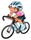 Baby Cyclist. Funny cartoon and vector character. Isolated object. — Stock Vector