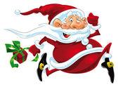 Santa Claus Running. — Stock Vector