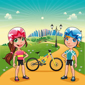 Park with young bikers. — Stock Vector