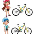 Baby Cyclists. — Stock Vector