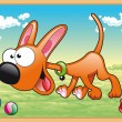 Dog is running in meadow with his toys — Stock Vector
