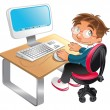 Boy and computer. — Stock Vector #10365815