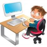 Boy and computer. — Stock Vector