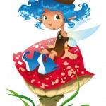 Fairy on a mushroom — Stock Vector #10365916