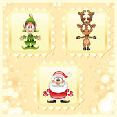 SantaClaus, Rudolph and Elf — Stock Vector