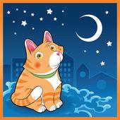 Baby cat in the night — Stock Vector