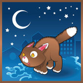 Baby cat in the night — Stock Vector
