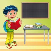 Rapaz, aluno em sala de aula — Vetorial Stock