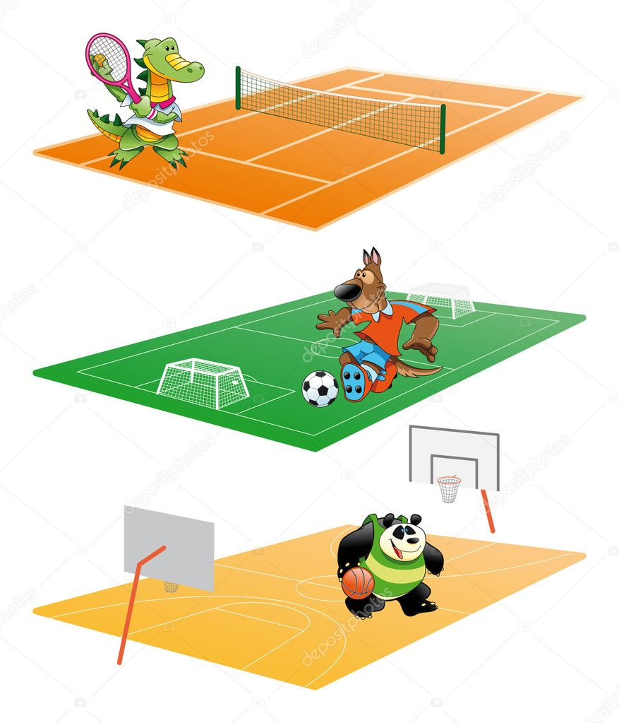 Sport and Animals, cartoon and vector illustration — Stock Vector #10366160