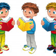 Three boys are reading. — Vettoriale Stock