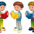 Three boys are reading. — Stockvector