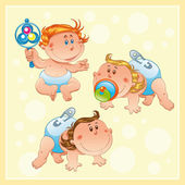 Babies with background. — Stock Vector