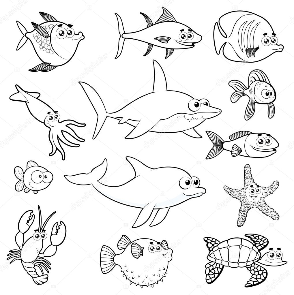 Family of funny fish. Vector isolated black and white characters. — Stock Vector #10481852