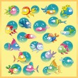 Family of fish with background - Stock Vector