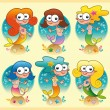 Set of mermaids with background — Stock Vector