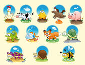 Cartoon animals and pets with background — Stock Vector