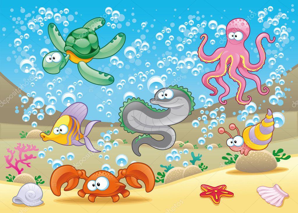 Famiglia di animali marini nel mare divertente cartone