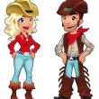 Cowboy and cowgirl. — Stock Vector #9616121
