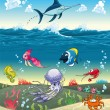 Royalty-Free Stock Vector Image: Under the sea with fish and other animals.