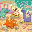 Royalty-Free Stock Vector Image: Group of funny dinosaurs in a prehistoric landscape.