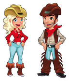 Cowboy and cowgirl. — Stock Vector