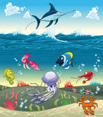 Under the sea with fish and other animals. — Stock Vector