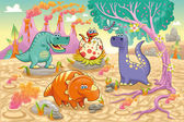 Group of funny dinosaurs in a prehistoric landscape. — Stock Vector