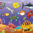 Royalty-Free Stock Vector Image: Family of funny fish under the sea.