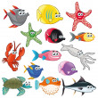 Royalty-Free Stock Vector Image: Family of funny fish.