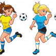 Soccer female players. — Stock Vector