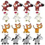 Animal Walking animations . — Stock Vector