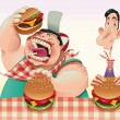 Guys with hamburgers. — Stock Vector
