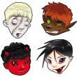 Royalty-Free Stock Vector Image: Zombie, Werewolf, Devil and Vampire.